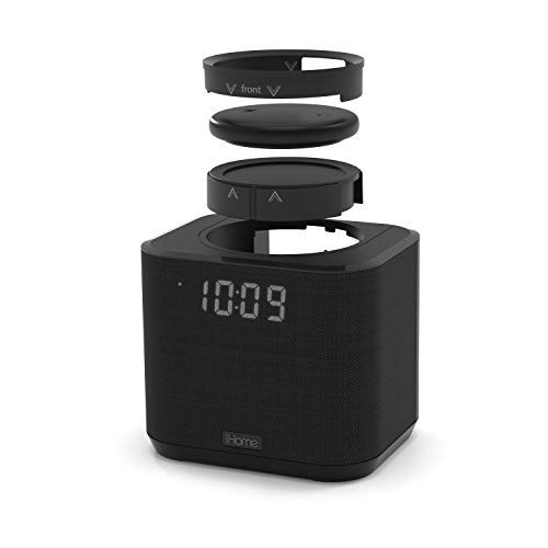 iHome iAV2v2 speaker and alarm clock bundle with Echo Input - Black