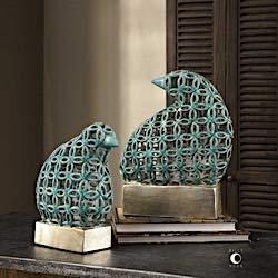 (Uttermost Sama Teal Bird Sculptures, S/2 18610)