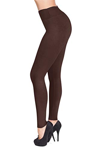 (SATINA High Waisted Leggings – 22 Colors – Super Soft Full Length Opaque Slim (One Size, Brown))
