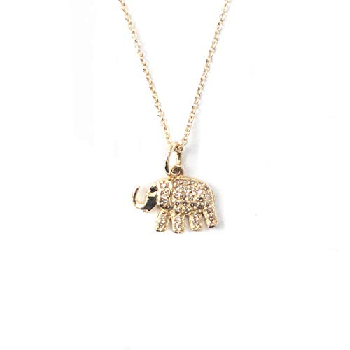 14k Yellow Gold, Pavé Diamond, and Sapphire Elephant Charm Necklace - 14, 15, 16 inches Long Handmade Necklace by Miller Mae Designs
