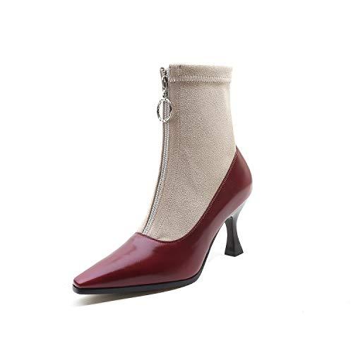 Tacones Cuadrados de Bloque de Cabeza de Mujer, Botines Cortos Altos, Rojo Vino, 41: Amazon.es: Zapatos y complementos