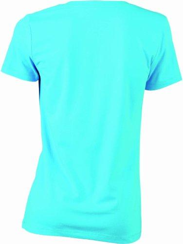 James & Nicholson T-Shirt Stretch Vee - Camiseta / Camisa deportivas para mujer Turquesa (turquoise)