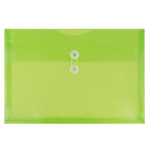 JAM Paper Plastic Envelope with Button and String Tie Enclosure - Letter Booklet - 9 3/4 x 13 - Lime Green - 108/pack by JAM Paper