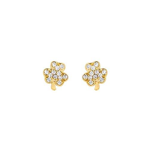 - Mini Mini Jewels 14k Yellow Gold Dazzling Diamond Cluster Lucky Irish Shamrock Clover Earrings