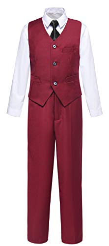 Visaccy Boys Suits Toddler Kids Burgundy Dress Vest Pants Set Size 7