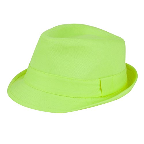 Women's Colorful Cotton Blend Trilby Fedora Hat (Lime Green) ()