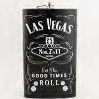 ((4 8/18) Las Vegas Flask 7 & 11 Lucky Dice VERY LARGE 64 oz Flask BLACK With Las Vegas Magnet)