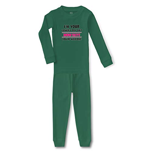 I'm Your Mom Says You are Welcome Cotton Crewneck Boys-Girls Infant Long Sleeve Sleepwear Pajama 2 Pcs Set - Kelly Green, 5/6T ()