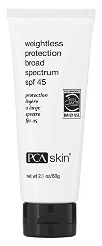 PCA SKIN Weightless Protection Ultra Lightweight Broad Spectrum SPF 45, Daily Facial Sunscreen for Oily/Acne Prone Skin, UVA/UVB Protection, 2.1 oz