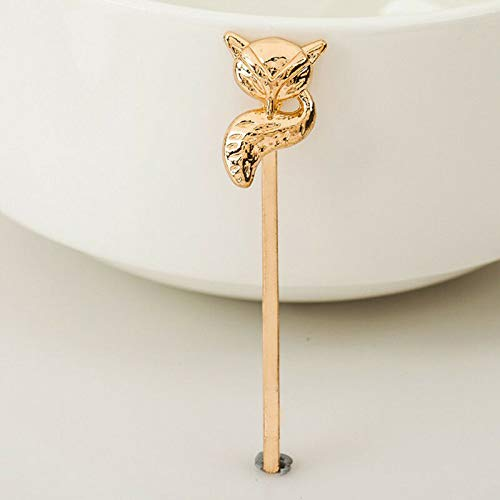 BF0C Elegant Cute Lovely Womens Gold Silver Animal Shaped Hairpin Hair Clip Head (color - rose gold fox) ()