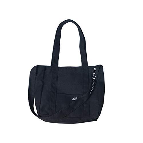- Dainzuy Top-Handle Bags for Women Canvas Messenger Beach Bag Lady Girl Travel Student Crossbody Satchels Totes Black