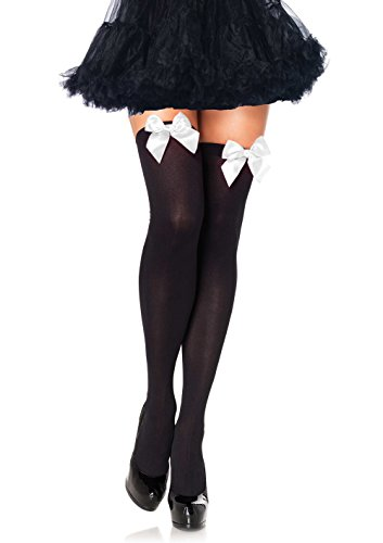 Leg Avenue Women's Opaque Thigh High Stockings with Satin Bow, Black/White, One Size