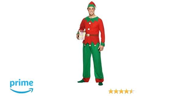 Pantal/ón Y Gorro SmiffyS 26025Xl Disfraz De Elfo Con Parte De Arriba Rojo // Verde Tama/ño 46-48 Xl