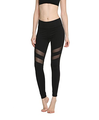 Women's Girl Mesh Stretchy Tights exercise Fitness Non see through Leggings Workout Gym Running Loungewear Yoga Pants (X-Large, Black)