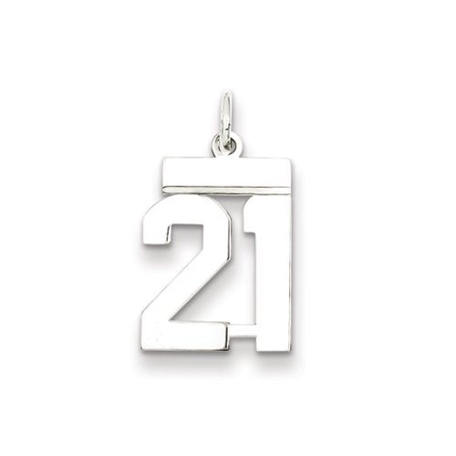 Sterling Silver, Athletic Collection, Small Polished Number 21 Pendant