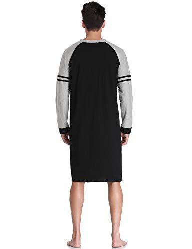 Noir Confortable Nuit Aibrou De Hommes Coton Chemise Robe xqAgqU