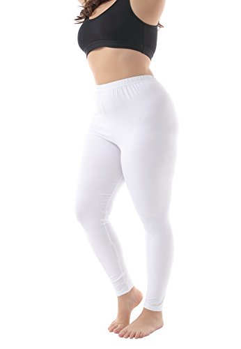 (Zerdocean Women's Plus Size Modal Lightweight Full Length Leggings White)
