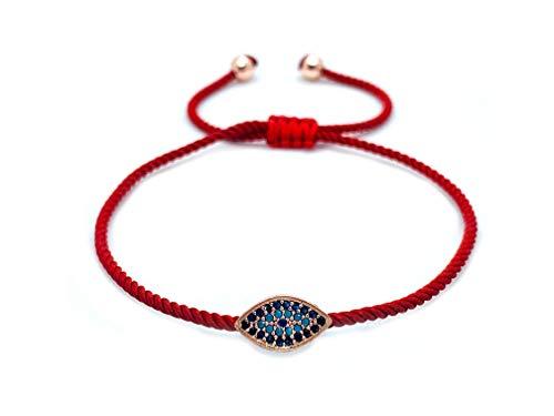 Sententia Jewelry Handmade Adjustable String Evil Eye Bracelet for Women I Red, Blue, Black Braided String I (Red) ()