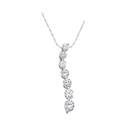 10kt White Gold Womens Round Pave-set Diamond Graduated Journey Pendant 1/4 Cttw (I2-I3 clarity; H-I color) (Graduated Diamond Pendant)