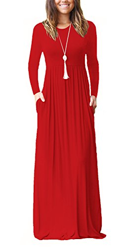 Womens Scoop Neck Pleated Loose Swing Casual Maxi Dress With Pockets Red XL