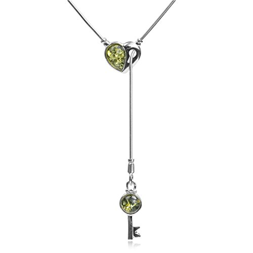 (Sterling Silver Green Amber Key from Heart Y Necklace Snake Chain 18 Inches)
