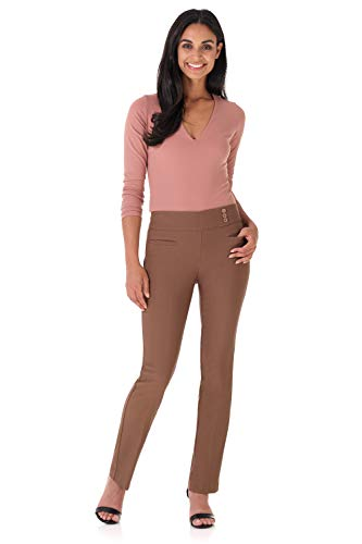 Rekucci Women's Ease Into Comfort Everyday Chic Straight Pant w/Tummy Control (2,Chestnut)