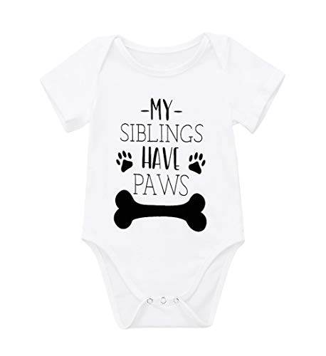 Newborn Baby GOT My Mind ON My Mommy Funny Bodysuits Rompers Outfits Blue (Z-My Siblings Have Paws, 0-3M)