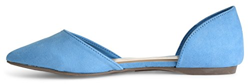 Breckelles Femmes Faux Cuir Dorsay Bout Pointu Appartements Bleu Su Ts