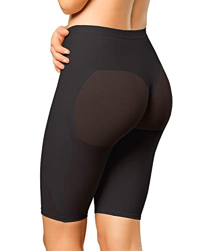 Leonisa Women's Petite Plus Well-Rounded Invisible Butt Lifter Shaper Short, Black, Small