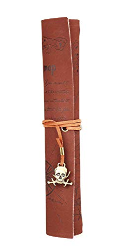 BeeChamp Retro Vintage Pirate Treasure Map Pattern Skull Roll-up PU Leather Pencil Case Holder (Style No.3) ()