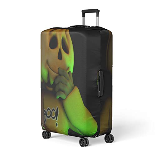 Pinbeam Luggage Cover All Pumpkin Halloween Man American Boo Candy Creepy Travel Suitcase Cover Protector Baggage Case Fits 26-28 inches]()