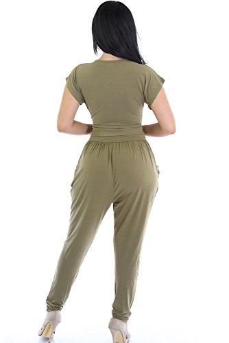 Femmes Vert olive Raccord de courroie avec ceinture Combinaison Clubwear Vêtements Taille M UK 10–12–EU 38–40
