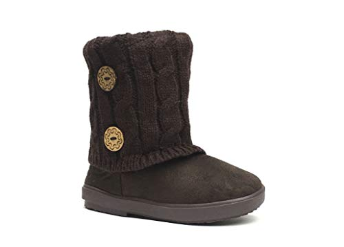 Kids Boots Toddler Girls Cute 2 Buttons Faux Fur Suede Knitting Shoe | 285 (Toddler 7, Brown)