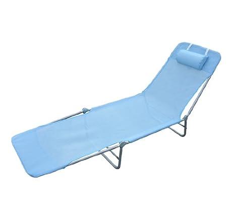 Homcom Chaise longue pliante bain de soleil inclinable transat textilene lit jardin plage bleu 01-0338