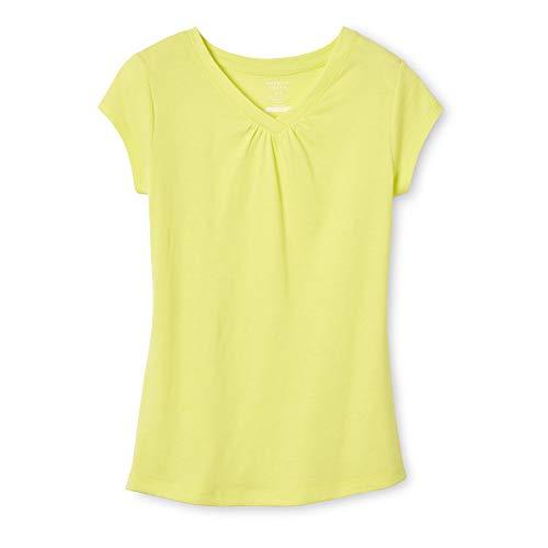 French Toast Girls' Big Short Sleeve V-Neck T-Shirt Tee, Lemon Fool, M (7/8)