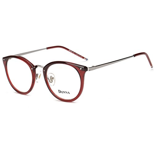 DONNA Stylish Clear Lens Glasses Samll Circle Frame Blue Light Blocking for Computer DN08(Red) ()