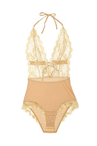 Yandy Women Nude Sheer Mesh Deep V-Neckline Zodiac Leo Teddy Lingerie X-Large ()