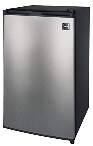RCA 3.2 Cu Ft Compact Fridge, Mini Refrigerator, Stainless Steel (24 Refrigerator Bottom Freezer)