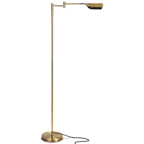 Halogen Swing Brass Antique Arm (Brightech Leaf - Bright LED Floor Lamp for Reading, Crafts & Precise Tasks - Standing Modern Pharmacy Light for Living Room, Sewing - Great by Office Desks & Tables - Antique Brass)