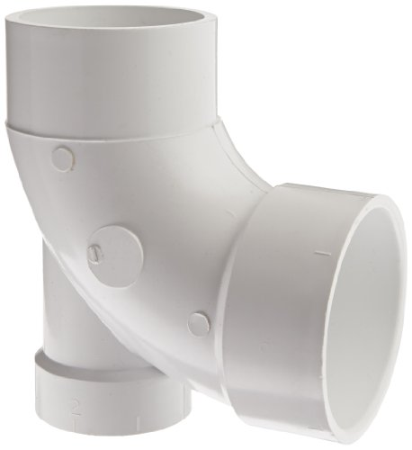 Spears P310 Series PVC DWV Pipe Fitting, 1/4 Bend, Elbow with Low Heel Inlet, 3