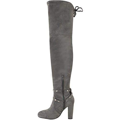 Faux Studded Womens Suede Boots Grey High High Heel Thirsty Block Fashion Party Thigh Size Strap qOxXpq4w