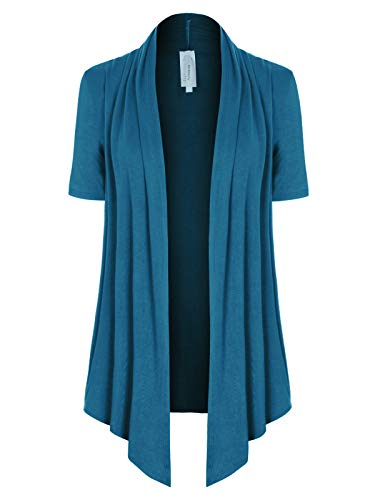 - MixMatchy Women's [Made in USA] Solid Jersey Knit Short Sleeve Open Front Draped Cardigan (S-3XL) Teal 2XL