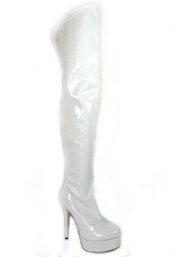 Cremallera 16017 Lateral Patent Mosqueteras Botas 41 36 Y Para Tacón White Mujer De Tallas Fetiche Sensual Plataforma Con Señora Aguja 0qwqFf