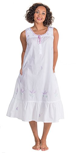 Cotton Lawn Long Gown (La Cera Sleeveless Long 100% Cotton Lawn Gown In Lavender Grove (X-Large (18-20), White/Lavender))