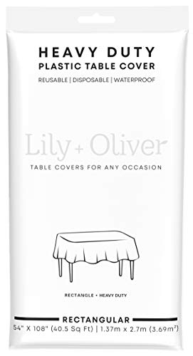 (Lily + Oliver White (12 Pack) Disposable Party Plastic Tablecloth Rectangular 54 inch. x 108 Inch.)