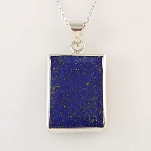 Sterling Silver Genuine Dark Blue Lapis Lazuli Rectangular Handmade Pendant 16+2'' Chain (Medium Size)