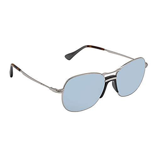 (Persol PO2449S - 518/56 Sunglasses SILVER w/ LIGHT BLUE Lens 56mm       )
