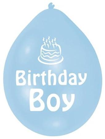 amazon co jp amscan 22 8cm birthday boy 10 latex balloons blue