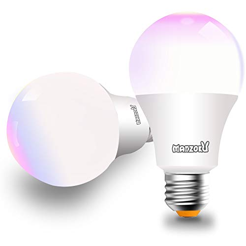 Smart Led Light Bulb 100 Watt Equivalent WiFi A19 Dimmable Color Changing RGBW Bulbs 10W E26/27 Medium Screw Base No Hub Required Light Bulbs Compatible with Alexa and Google Assistant - 2 Pack