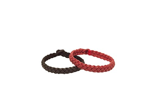 No Buggy Me All-Natural Stylish Mosquito & Bug Repellent Bracelet - DEET-Free, Plant-Based, Waterproof - Lasts 240 Hours - For Kids & Adults - Vegan Leather - 2 Pack (Black/Red) by No Buggy Me